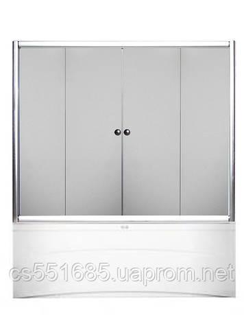 170W-4 (170х140см). Штора для ванной KO&PO. 4-секции. Профиль белый. Стекло прозрачное