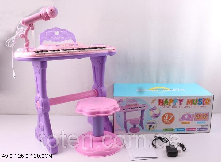 Детское пианино-синтезатор 37 клавиш на ножках со стульчиком и микрофоном. от батареек S6001