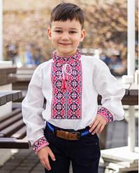 Детская вышиванка Левко  ,ткань хлопок,р 110,116,122,140,152 белая, дитяча вишиванка