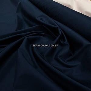 Ткань рубашечная поплин стрейч темно-синий
