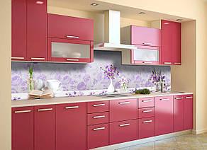 Скинали на кухню Zatarga «Фиолетовые цветы» 600х2500 мм виниловая 3Д наклейка кухонный фартук самоклеящаяся