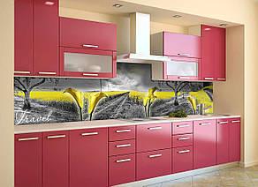 Скинали на кухню Zatarga «Желтые поля» 600х3000 мм виниловая 3Д наклейка кухонный фартук самоклеящаяся