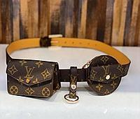 Женский ремень с навесными карманами Louis Vuitton коричневый