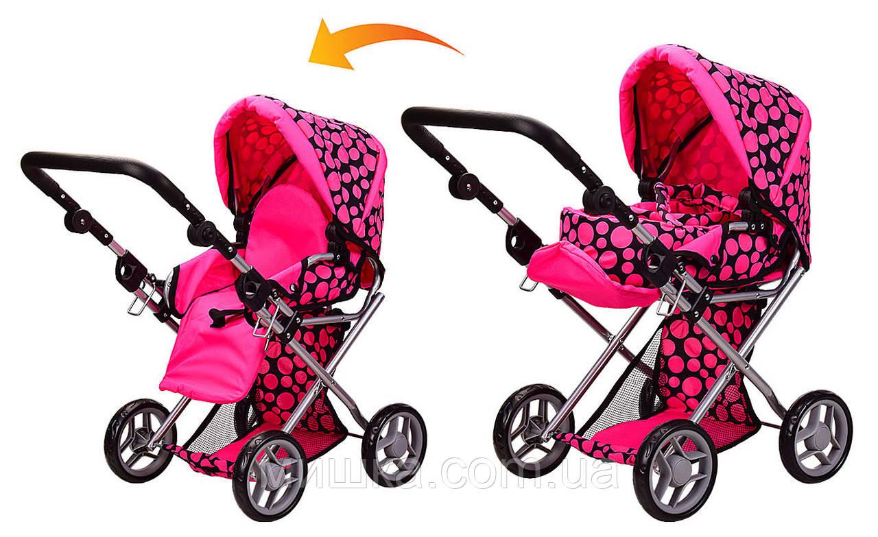 Коляска для куклы 9346 Melogo розовая в горошек 2 в 1, демисезон