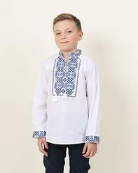 Детская вышиванка Легенда длинный рукав,ткань сорочечная, р,116,122,128,134,140,152, біла з голубою виш