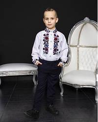 Детская вышиванка Павлик на подростка ,ткань 100% лён, р 158,164 белая. дитяча вишиванка
