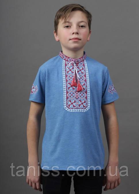 Детская вышиванка Иванко  ,ткань лакоста,р  104,110,116,122,128,134,140,146,152 голуба з червоним