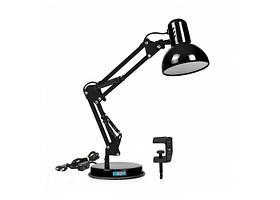 Настольная лампа со струбциной и подставкой под лампу E27 черная LOGA L-304
