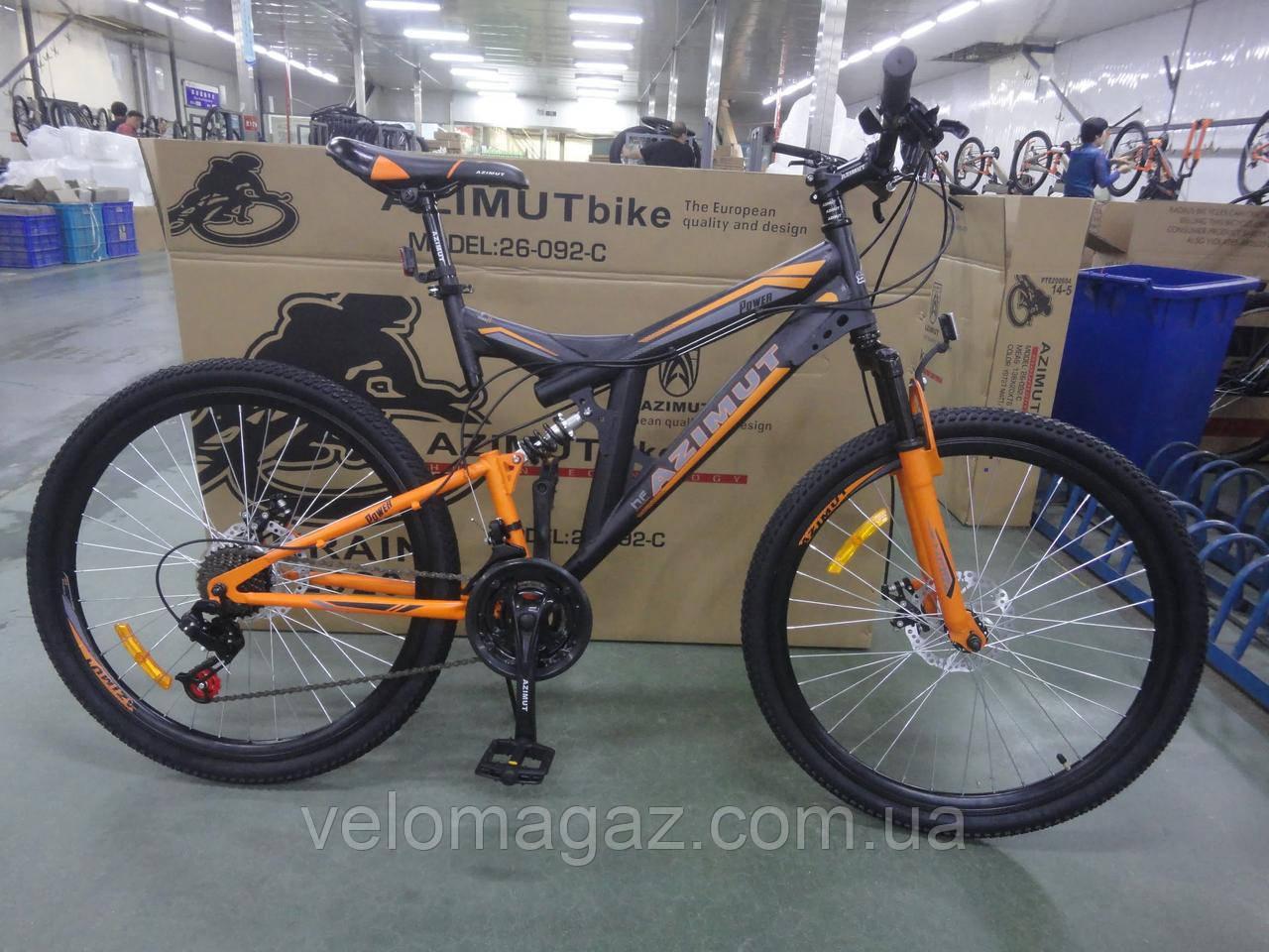 """Велосипед гірський двухподвесной AZIMUT POWER 26"""" чорно-червоний"""