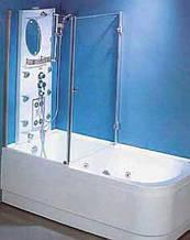 7047/У-70 (70х140см). Штора-угол на ванную KO&PO. Профиль сатин. Стекло матовое