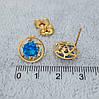 Сережки цвяшки, Круг з блакитним цирконієм, медзолото Xuping, 18К, фото 2
