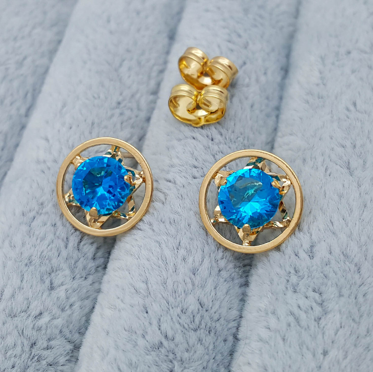 Сережки цвяшки, Круг з блакитним цирконієм, медзолото Xuping, 18К
