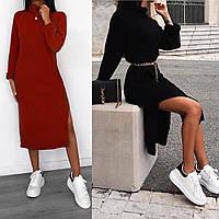 Женское весеннее платье рубчик черный беж красный 42-44 44-46