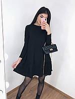 Женское весеннее платье креп-дайвинг черный бутылка 42-44 46-48