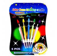 Різнокольорові свічки (5 штук) з різнокольоровими вогниками