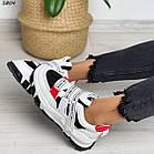 Жіночі білі кросівки, екошкіра, фото 3