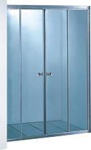 7052F-170 (170х180см). Штора для ванной KO&PO. 4-секции. Профиль сатин. Стекло матовое