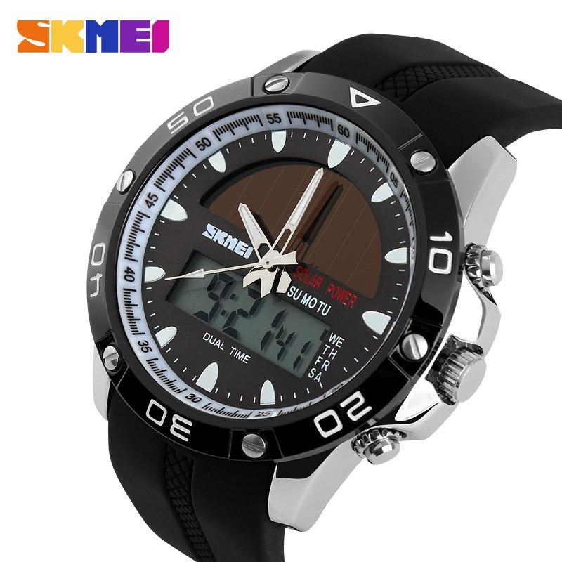 Мужские спортивные часы Skmei 1064 solar серебристые