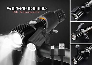 Велосипедный фонарь с зумом NEWBOLER (1800LM, XML T6*3, Micro USB, Zoom, Поворотное крепление)