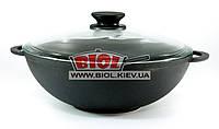 Чугунная сковорода ВОК (WOK) 26 см 3 л со стеклянной крышкой БИОЛ 0526С. Чугунная посуда