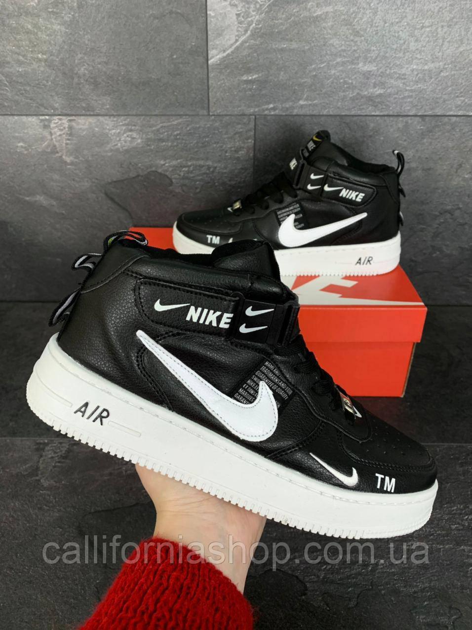 Мужские кроссовки Nike Air Force 1 высокие кожаные цвет черный с белой подошвой