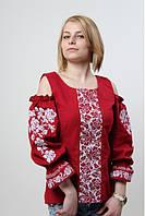 """Женская, нарядная блузка - вышиванка """"Аура цветов"""", 100% хлопок, р. 42,44,50,52 бордо"""