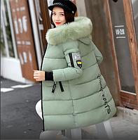 Женская зимняя куртка пуховик принт Disney с капюшоном манжетами декоративный съёмный мех р.46, фото 1