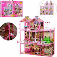Домик для кукол Барби, 3 этажа, с мебелью (арт. 6992)