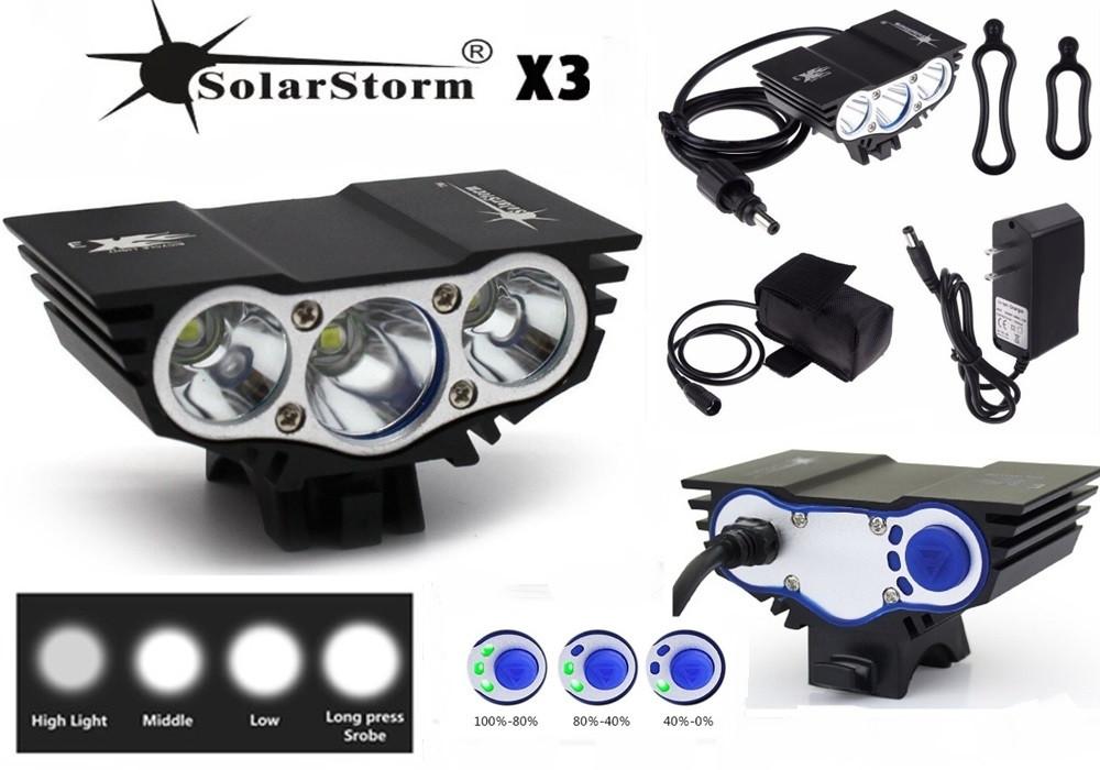 """Велосипедный фонарь Фара SolarStorm x3 """"СОВА"""" (XML T6*3, 6500k, IPX7, Аккумулятор 6400mAh) ПОЛНЫЙ КОМПЛЕКТ!"""