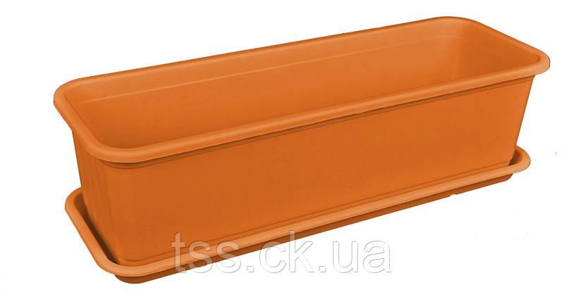 Ящик балконный с поддоном 16*49*13 см коричневый ГОСПОДАР 92-8050, фото 2