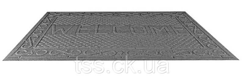 """Килимок гумовий з синтетичним покриттям """"WELCOME"""" 730*1165 мм сірий ГОСПОДАР 92-0702"""