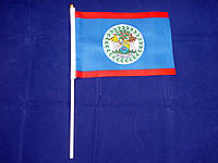 Флажок Белиза 14х21см на пластиковом флагштоке