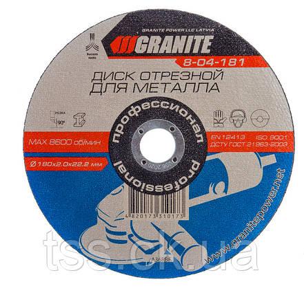 Диск абразивный отрезной для металла 180*2,0*22,2 мм GRANITE 8-04-181, фото 2