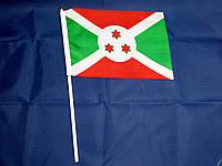 Флажок Бурунди 14х21см на пластиковом флагштоке