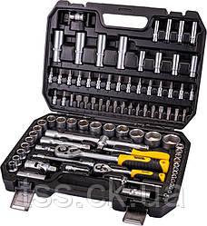 """Универсальний набор инструментов 94 элемента, сталь CrV, головки торцевые 1/4"""" и 1/2""""  пластиковый кейс PROFI"""