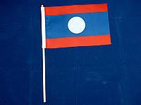 Флажок Лаоса 14х21см на пластиковом флагштоке