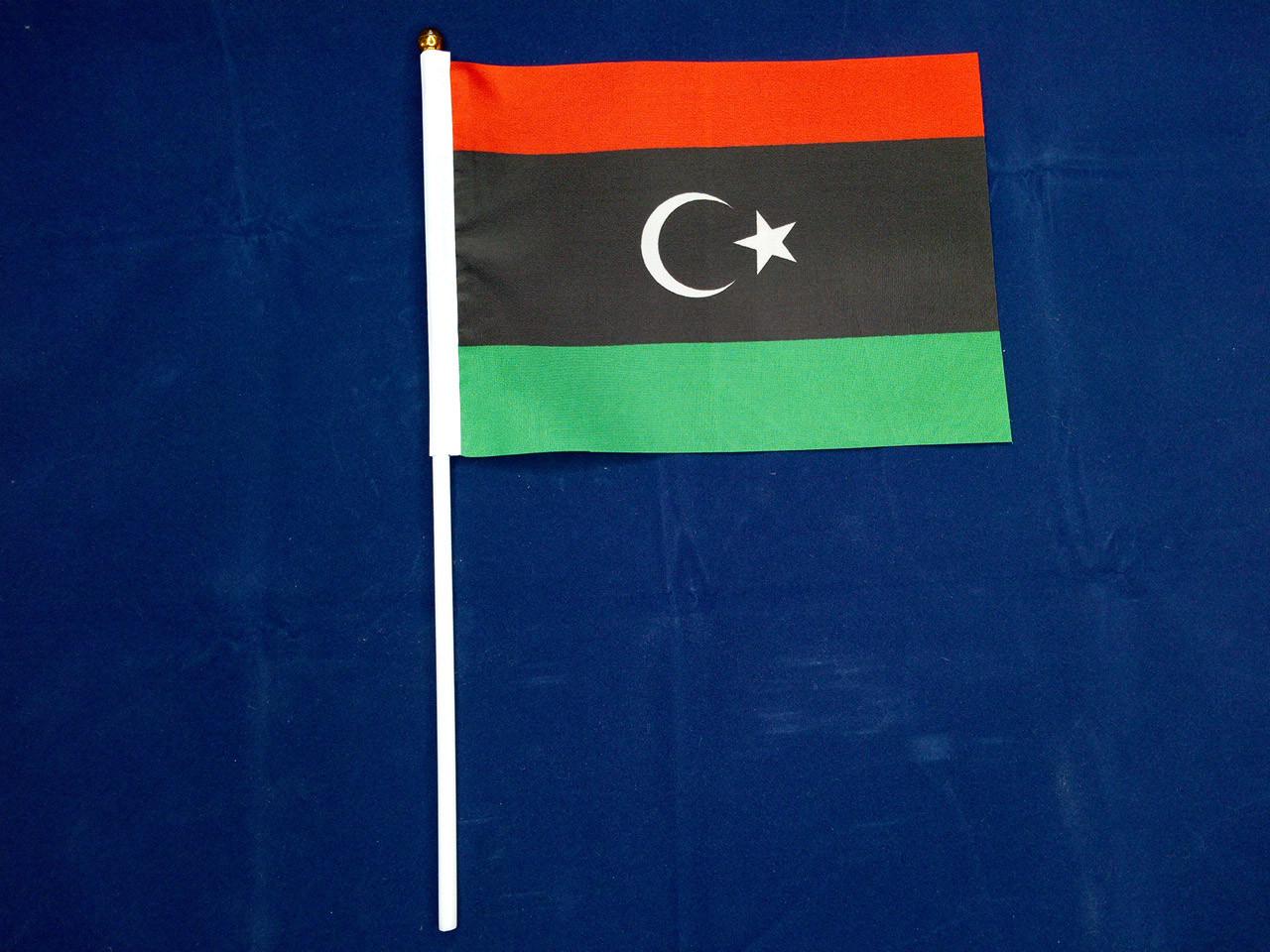 Флажок Ливии 14х21см на пластиковом флагштоке