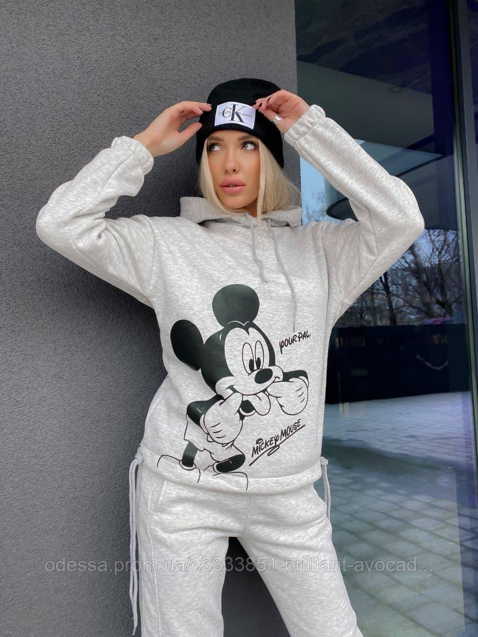 Женский тёплый спортивный костюм с принтом Микки Маус в большом размере 48 50 52