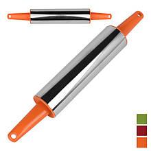 Скалка с пластмасовыми ручкачи L34см рабочая L19см D5см
