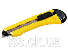 Нож 18 мм пластиковый с металлической направляющей  кнопочный фиксатор MASTERTOOL 17-0528