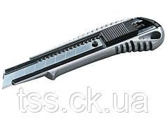 Нож 18 мм металлический с направляющей кнопочный фиксатор MASTERTOOL 17-0128