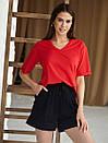 2434 футболка Oversize V-вырез, красный (S), фото 2