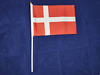 Флажок Дании 14х21см на пластиковом флагштоке