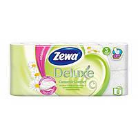 Туалетная Бумага ZEWA Delux 3 слоя, 8 шт Camomile Comfort 8 рулонов