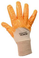 """Перчатки хлопчатобумажный трикотаж MASTERTOOL неполное нитриловое покрытие вязаный манжет 10"""" 55-57 г желтые"""