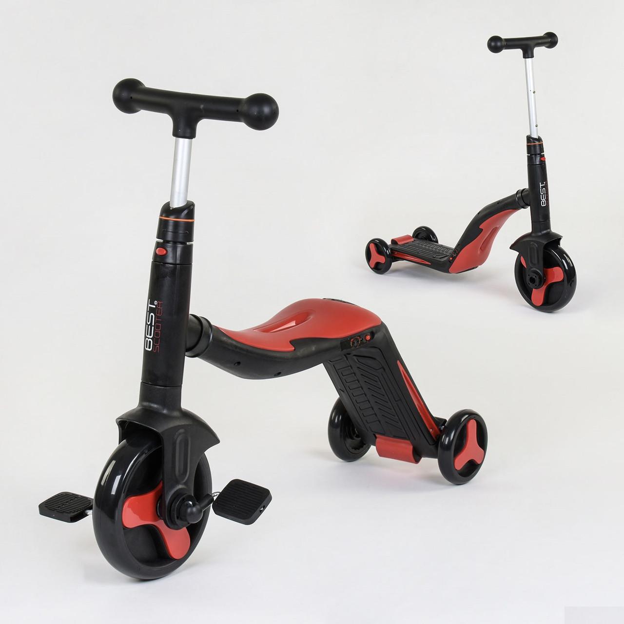 Самокат 3в1 Best scooter 28228 (самокат-велобіг від-велосипед), світло, 8 мелодій, PU колеса