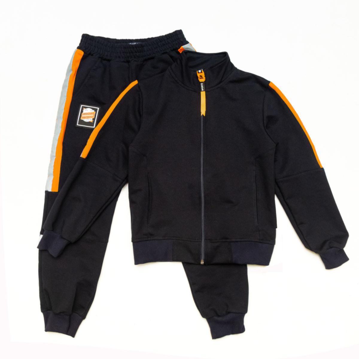 Костюм спортивный для мальчика р.128,140 SmileTime Rider, синий с оранжевым