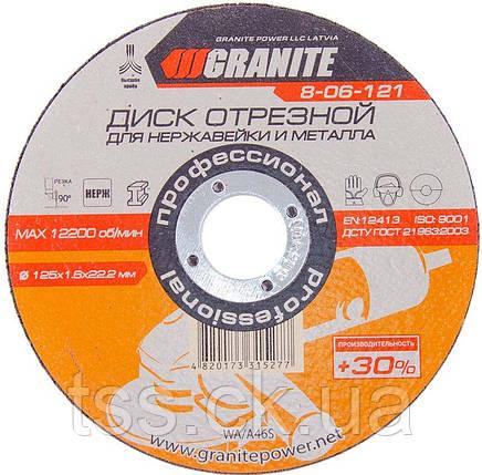 Диск абразивний відрізний для нержавіючої сталі та металу 125*1,6*22,2 мм PROFI +30 GRANITE 8-06-121, фото 2