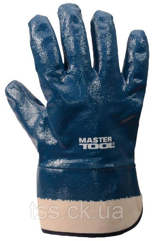 "Рукавички масло-бензостойкие утеплені, нітрилове покриття, манжет крага (сині), 10,5"" MASTERTOOL 83-0407"