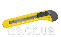Нож 18 мм пластиковый кнопочный фиксатор MASTERTOOL 17-0518